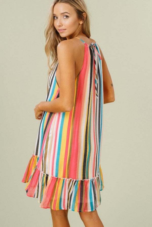 TROPICAL STRIPE DRESS