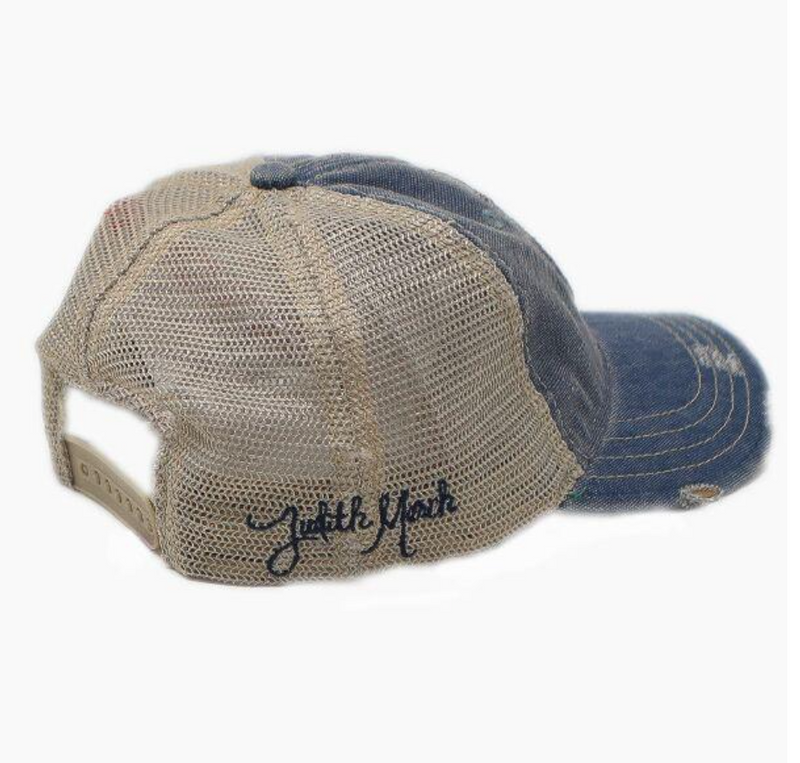 Judith March Steer Head Hat in Blue