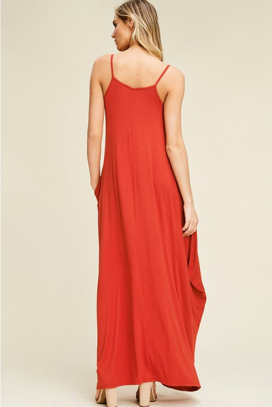 Red Long Strap Dress with Side Pockets
