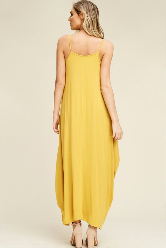 Mustard Long Straps Dress with Side Pockets