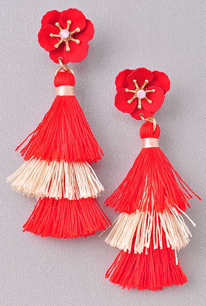 Red And Cream Tassel Earring