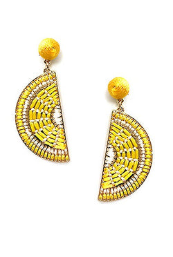 Sliced Lemon Bead Post Earring