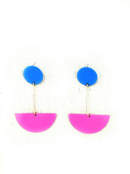 Fuschia & Blue Abstract Earring