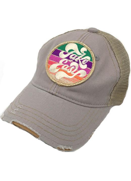 JUDITH MARCH METALLIC TAKE IT EASY PATCH - GREY HAT