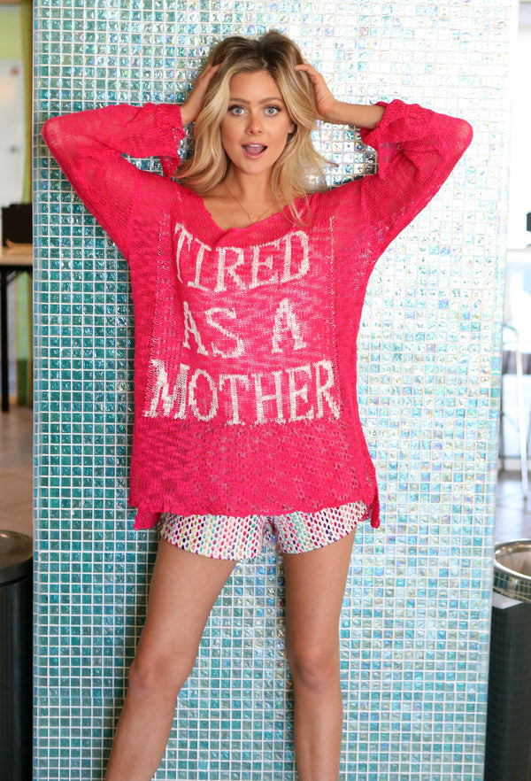 Tired As A Mother Open Knit Sweater
