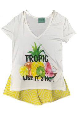 "JUDITH MARCH WHITE SLIT SHOULDER W/ ""TROPIC LIKE IT'S HOT"""