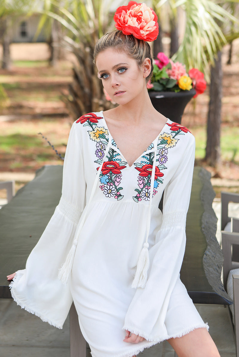 Judith March Off White V Neck Bell Sleeve Dress with Embroidery