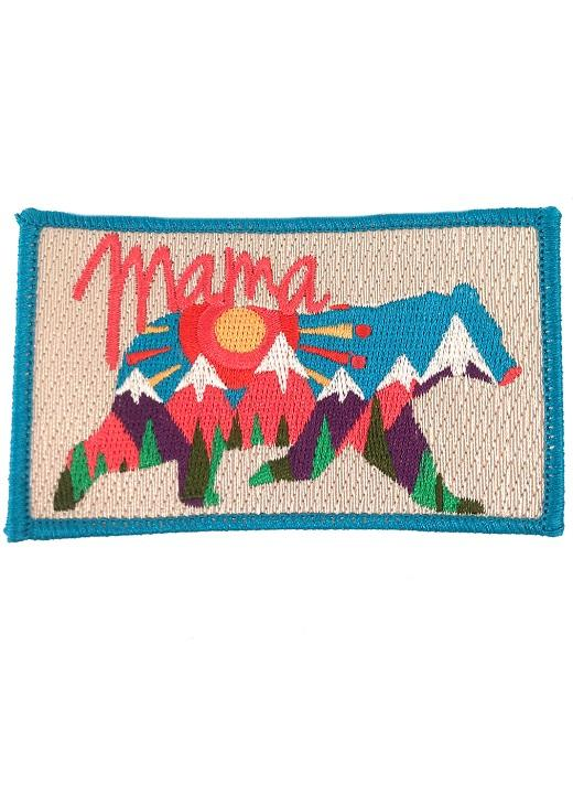 Abstract Mama Bear Patch - Blue