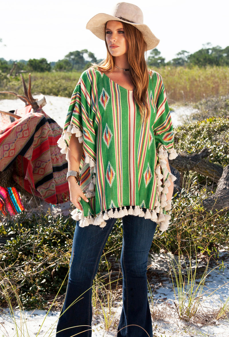 Judith March Green Aztec Poncho