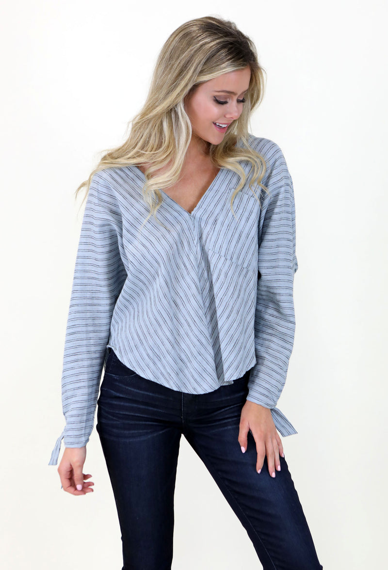 Linen Navy Striped Top