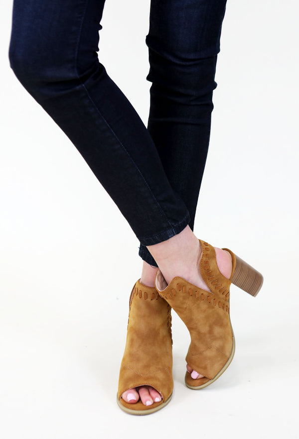 Tan Open Toed Booties