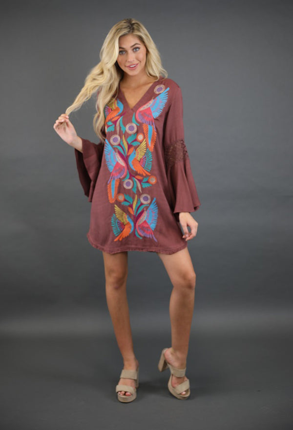 BROWN V NECK DRESS W/ CROCHET DETAIL ON SLEEVE & BOHO BIRD EMBROIDERY