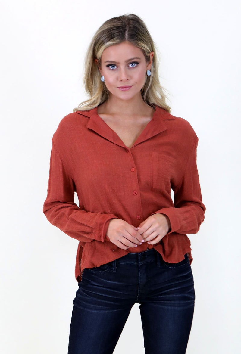 Linen Button Down- Burnt Orange
