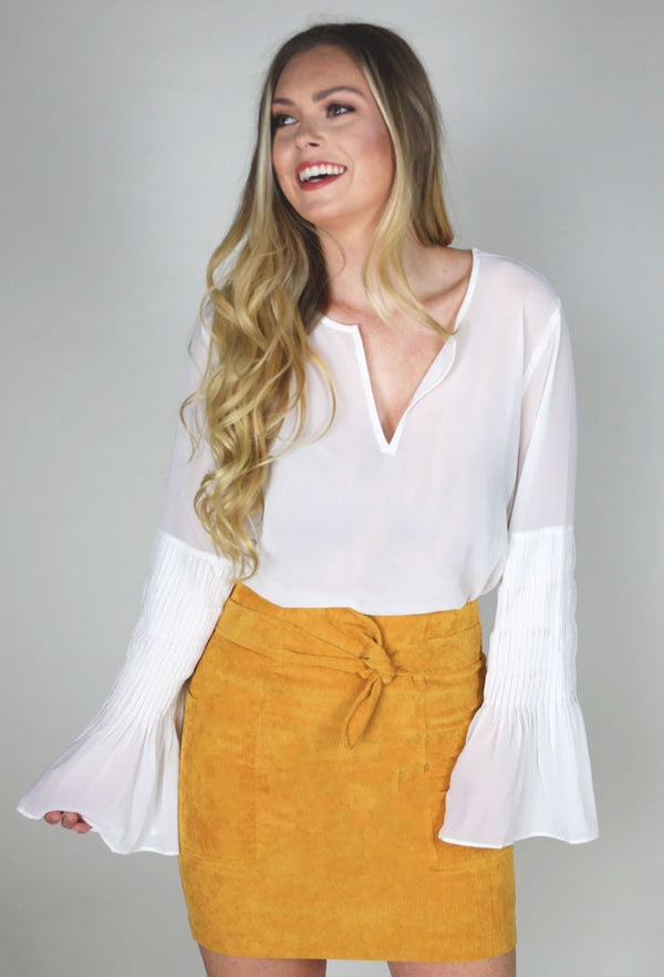 THE PERFECT CORDUROY SKIRT - MUSTARD