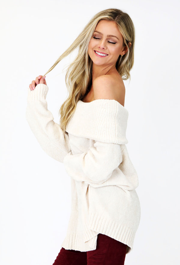 Off The Shoulder & Cowl Neck Chenille Sweater