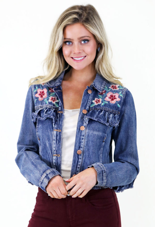 Blush Detailed Cropped Denim Jacket