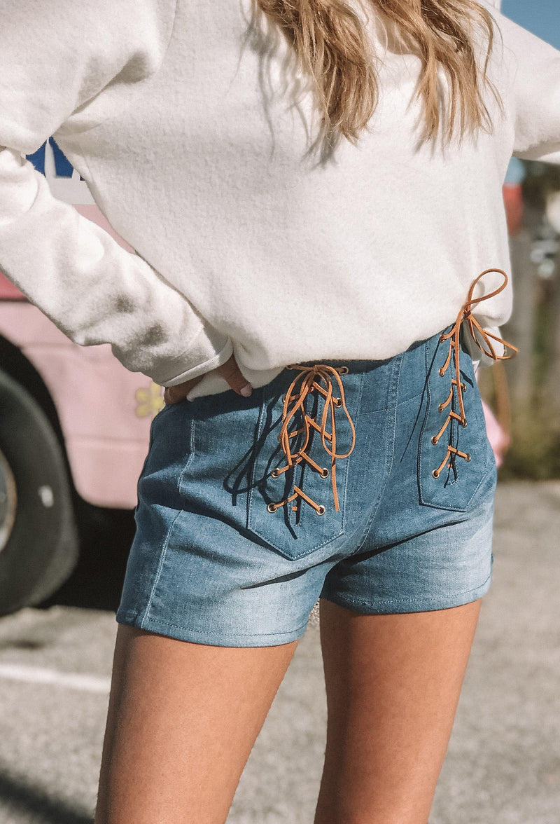 Judith March Denim Shorts With Front Lace Detail