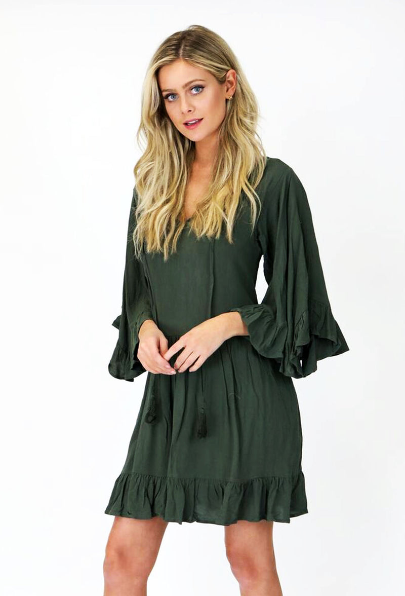 GREEN RUFFLE DRESS