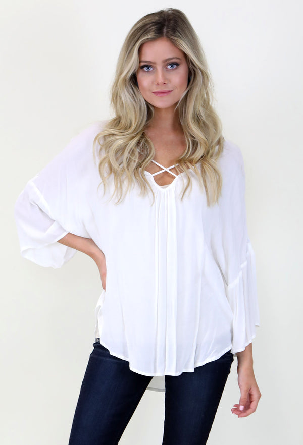Simple Flowy Top- White
