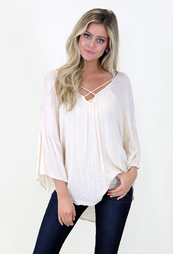 Simple Flowy Top- Cream