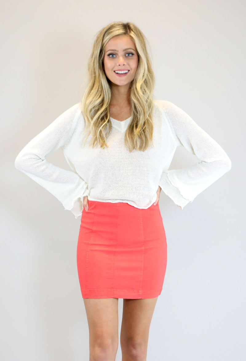High Waist Washed Panel Mini Skirt - Orange