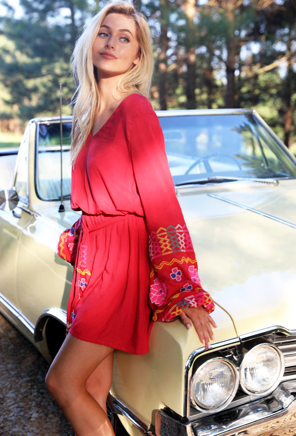 The Gypsy Knot Embroidered Blouson Dress