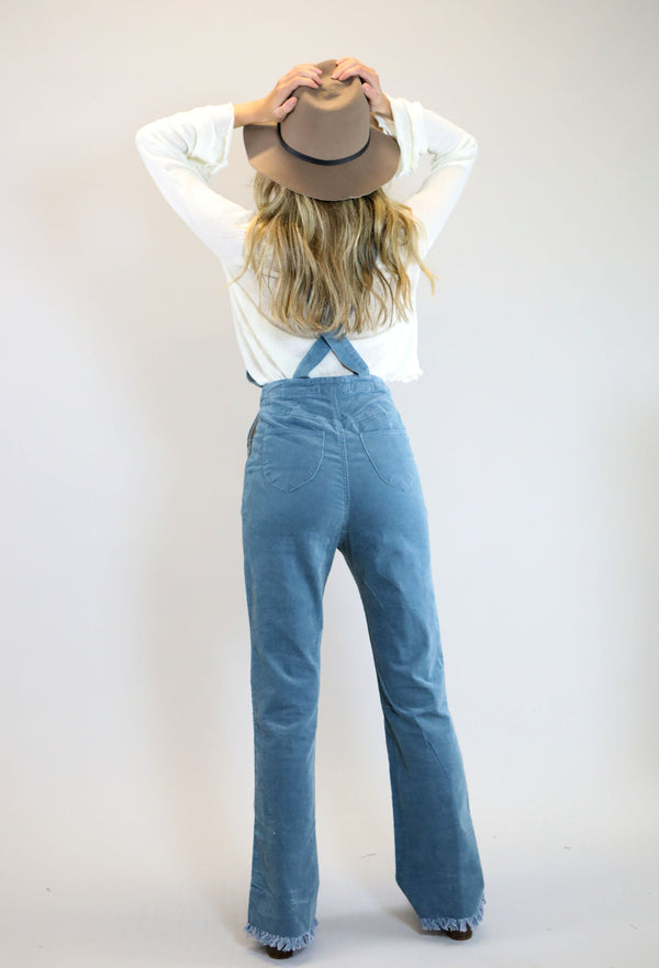 Front Flare Bottom Overall - Dusty Blue