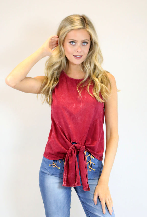 Mineral Washed Tie Front Top - Crimson