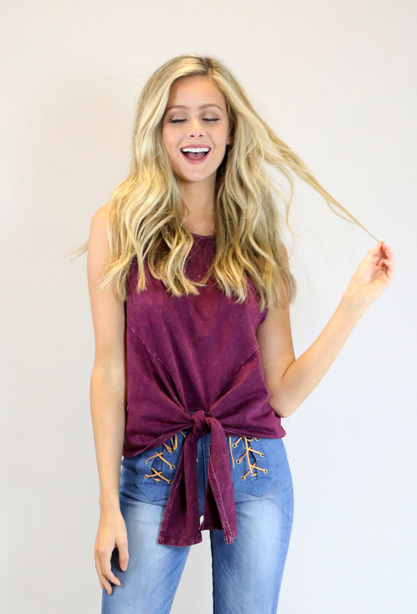 Mineral Washed Tie Front Top - Maroon