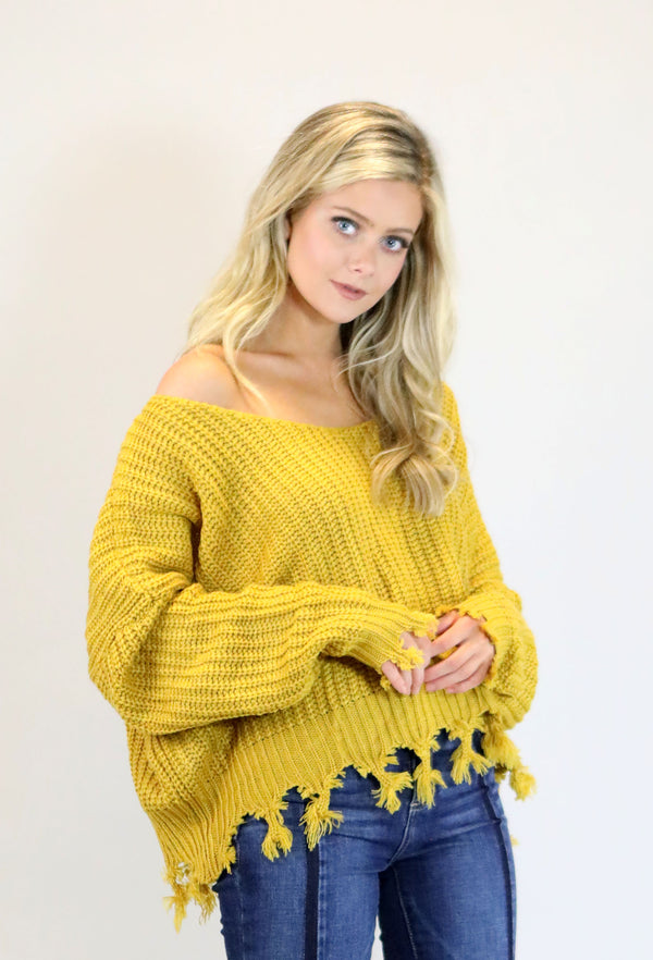 TASSEL SWEATER - MUSTARD