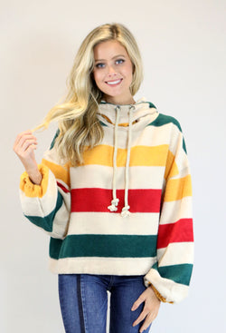 Hooded Striped Pullover - Red, Green, & Yellow
