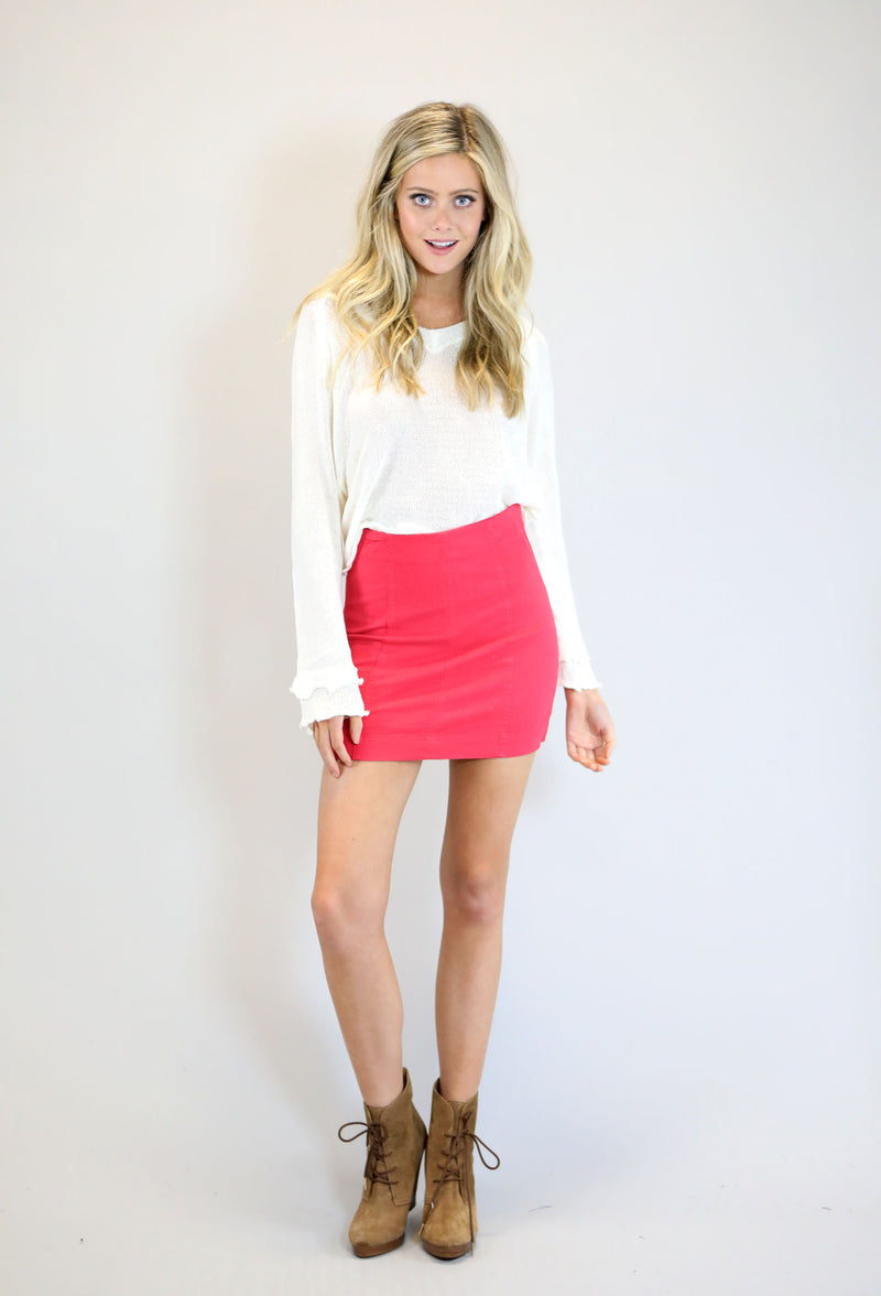 High Waist Washed Panel Mini Skirt - Red
