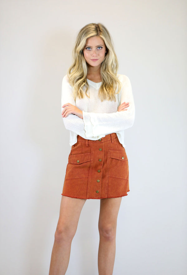 Button Down Washed Mini Skirt With Pockets And Raw Hem
