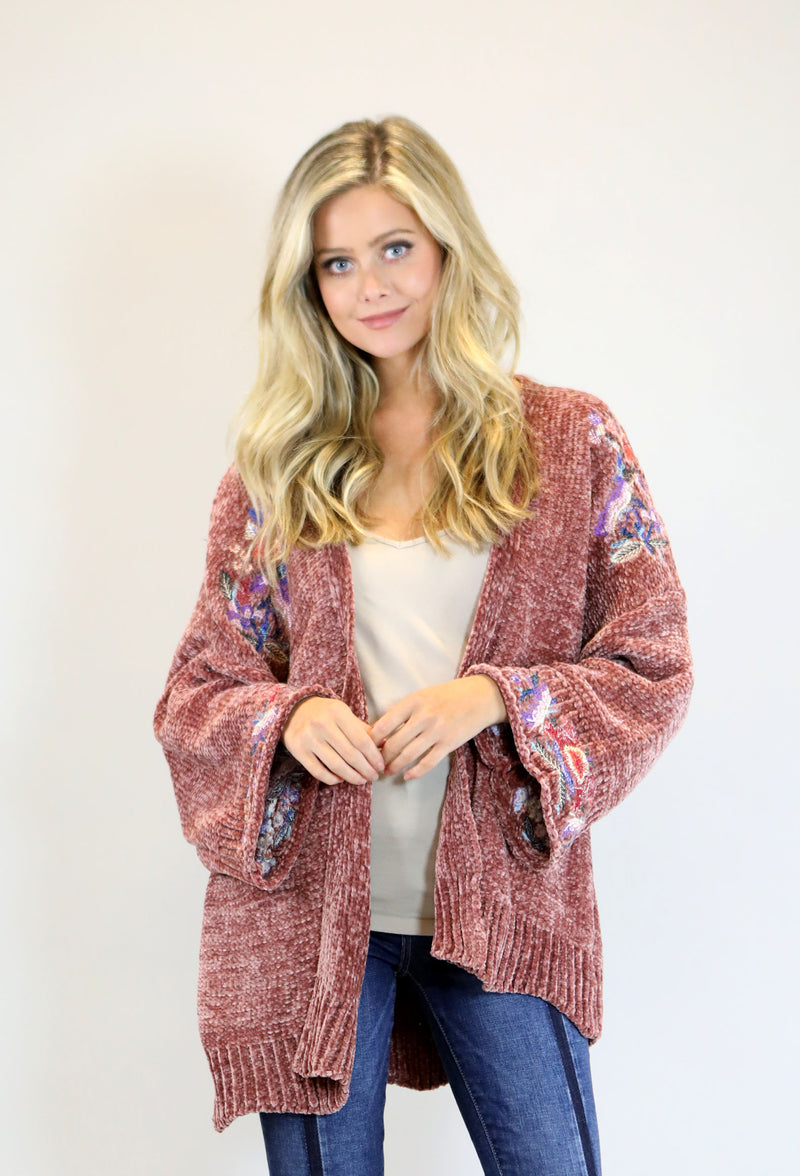 Super Soft Cardigan With Embroidered Bell Sleeve - Rust