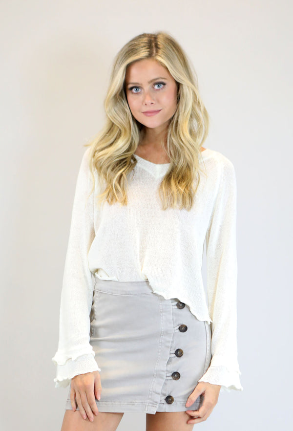 VINTAGE BUTTON DOWN SKIRT - GREY