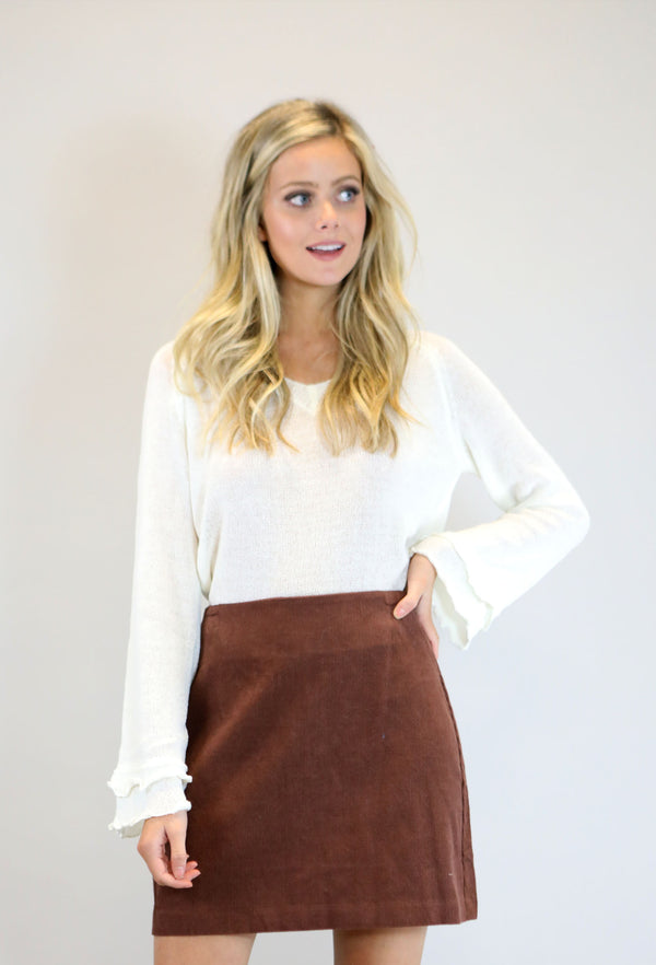 Corduroy Mini Skirt - Brown