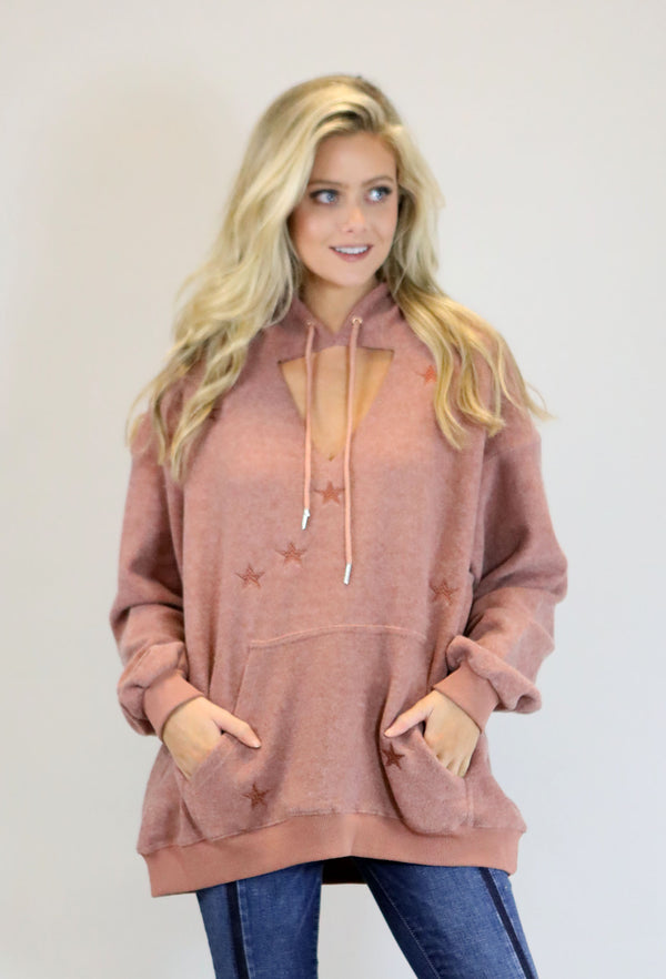 Star Hooded Pullover - Rose