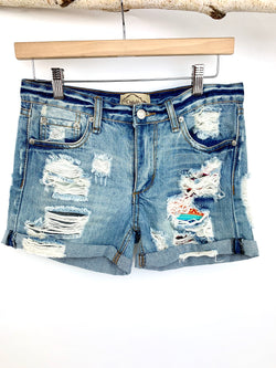 ONE OF A KIND DENIM SHORTS WITH JUDITH MARCH FABRIC