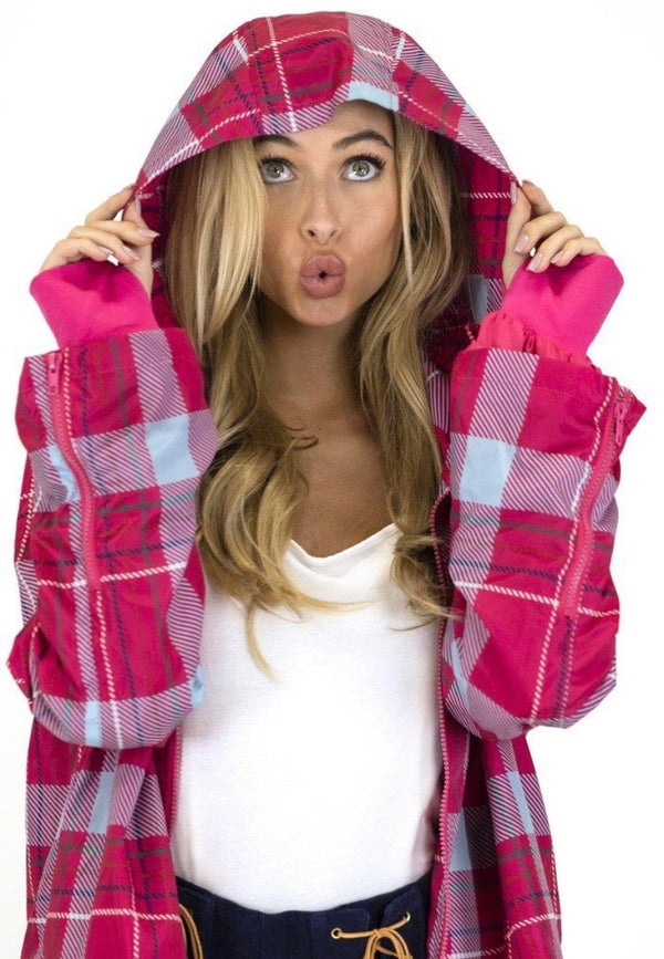 CLUELESS PLAID HOODED WIND BREAKER