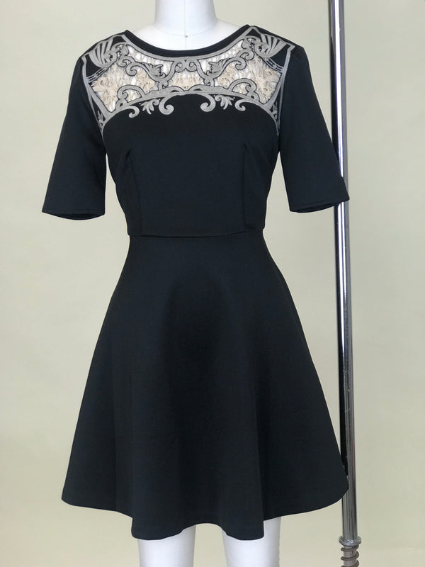 Black High Neck Detailed Dress