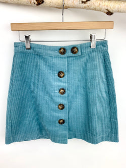 BABY BLUE BUTTON DOWN SKIRT