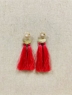 HOT PINK DOUBLE TASSEL