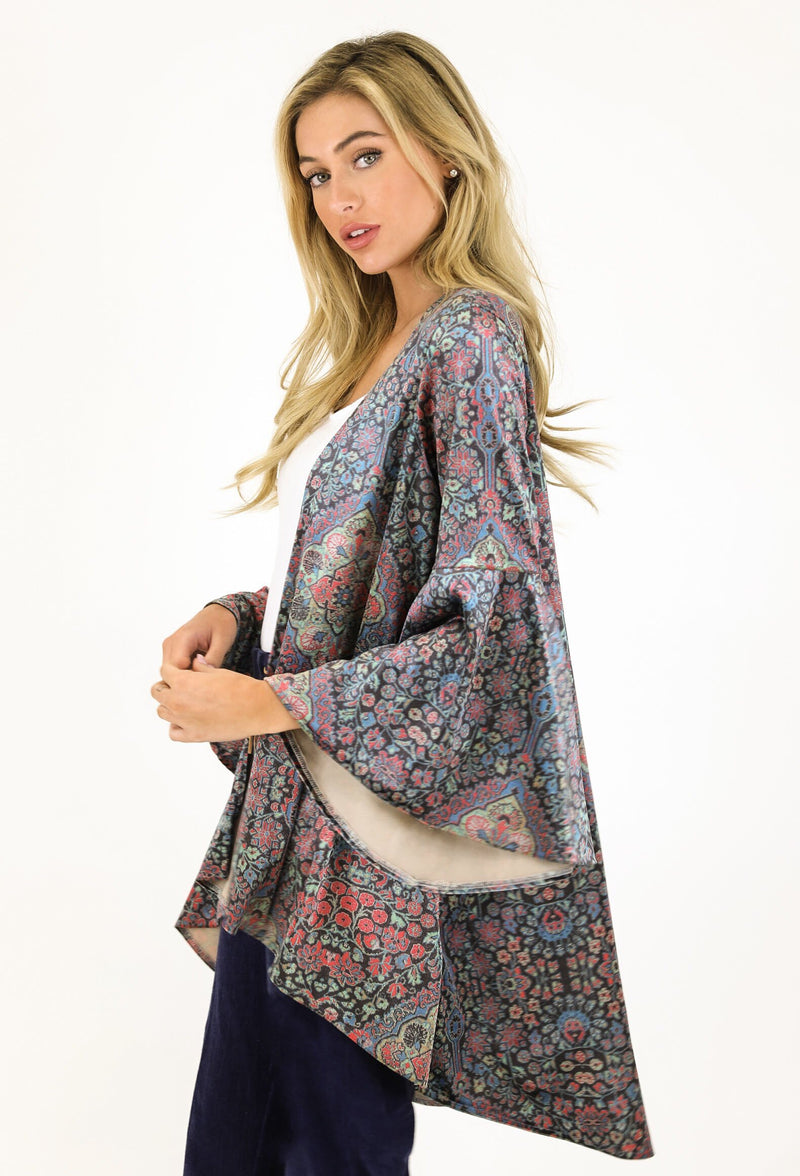 JUDITH MARCH ARABIAN NIGHTS VELVET KIMONO W/ BELL SLEEVE