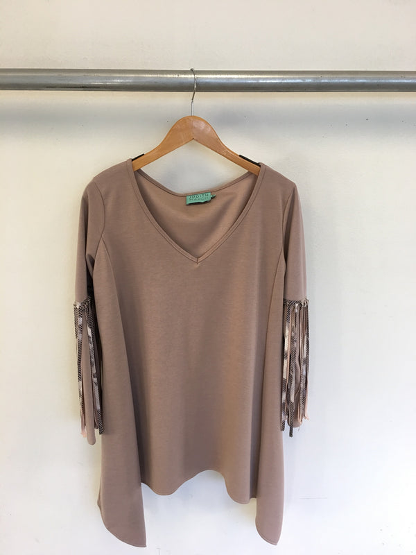 Judith March Snakeskin  Fringe Tunic