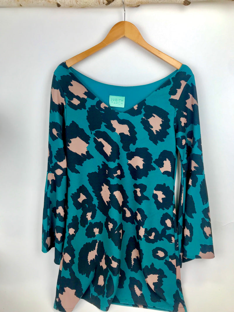 JUDITH MARCH TEAL LEOPARD DRESS