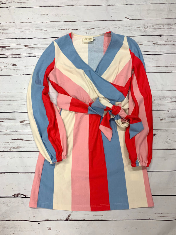 JUDITH MARCH LONG SLEEVE DRESS WITH BABY BLUE + RED STRIPES