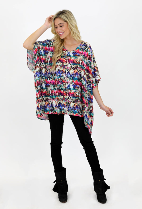 MULTI SNAKE V NECK TUNIC