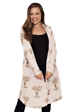 JUDITH MARCH FLORAL DOE KNIT DUSTER