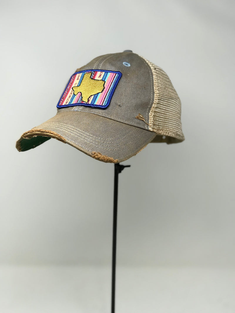 GREY HAT WITH STATE OF TEXAS AND EMBROIDERED PATCH