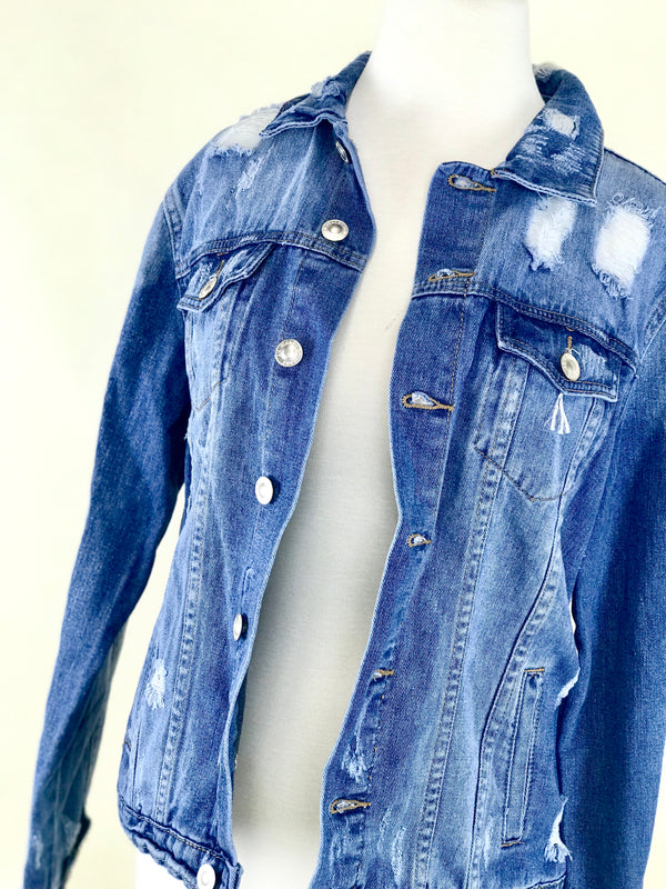 "ONE OF A KIND BLUE JEAN JACKET WITH ""DREAM ON"" EMBROIDERED ON THE BACK"